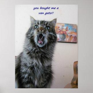 El gatito chocado ama el pintar póster