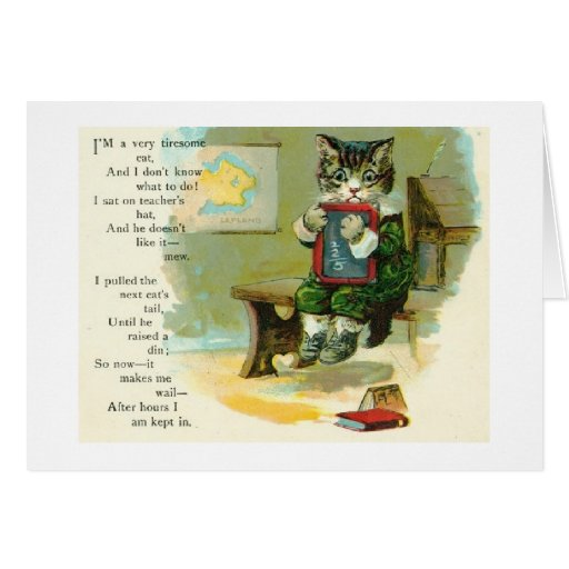 El gatito consigue en el problema, tarjeta de feli