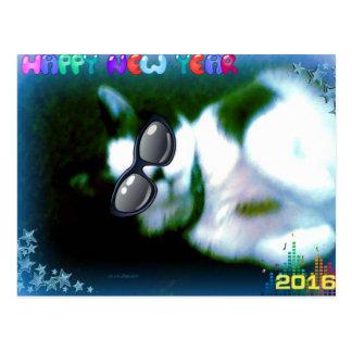 el gatito de la Feliz Año Nuevo de la raqueta Postales