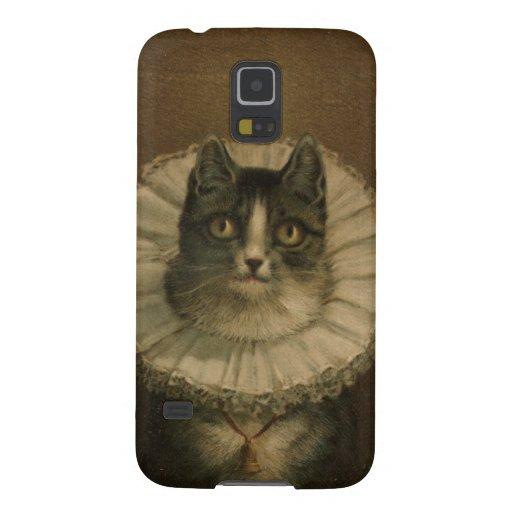 El gatito de la pintura del gato del vintage de la carcasa para galaxy s5