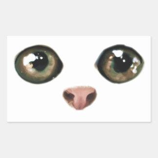 El gatito de ojos verdes es lindo rectangular pegatina