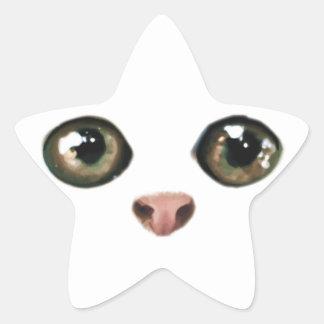 El gatito de ojos verdes es lindo colcomanias forma de estrellaes