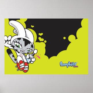 El gatito del conejito salta el poster