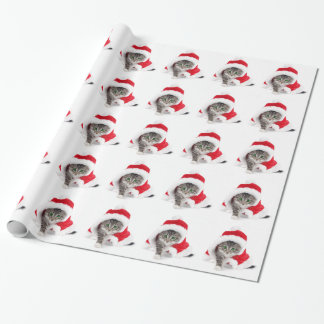 El gatito del navidad en Santa agarra el papel de Papel De Regalo