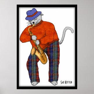 El gatito del saxofón se realiza póster