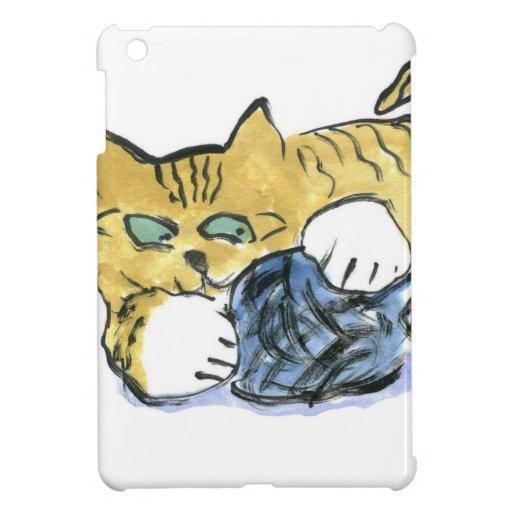 El gatito del tigre guarda sus ojos en el hilado iPad mini cárcasas