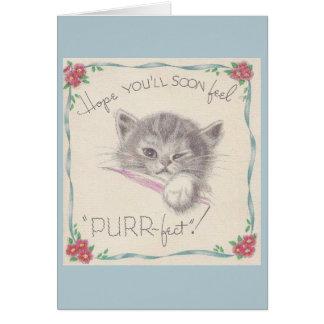 El gatito del vintage consigue la tarjeta bien