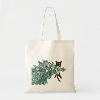El gatito está colgando alrededor del árbol bolsa tela barata