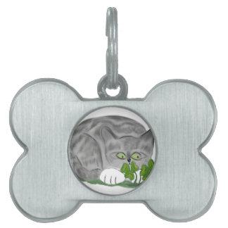 El gatito gris del tigre encuentra un trébol de placa mascota