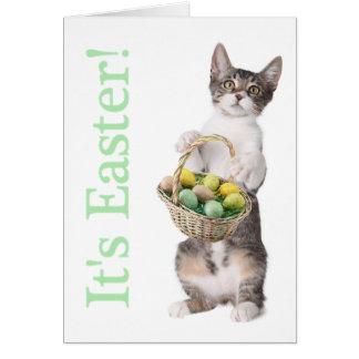 El gatito le trae una cesta de Pascua Tarjeta De Felicitación