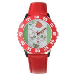 El gatito más dulce del navidad del vintage reloj de mano