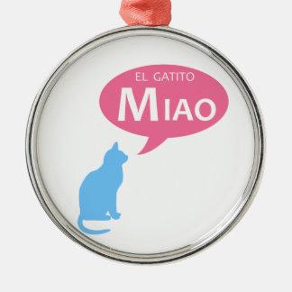 EL Gatito Miao Adorno Redondo Plateado