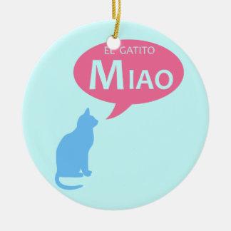 EL Gatito Miao Adorno Redondo De Cerámica
