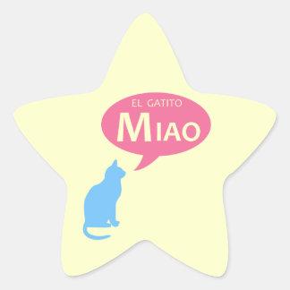 EL Gatito Miao Pegatina En Forma De Estrella
