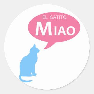 EL Gatito Miao Pegatina Redonda