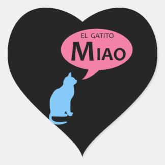 EL Gatito Miao Pegatina En Forma De Corazón