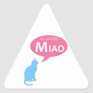EL Gatito Miao Pegatina Triangular
