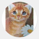 El gatito n florece II Pegatinas Redondas