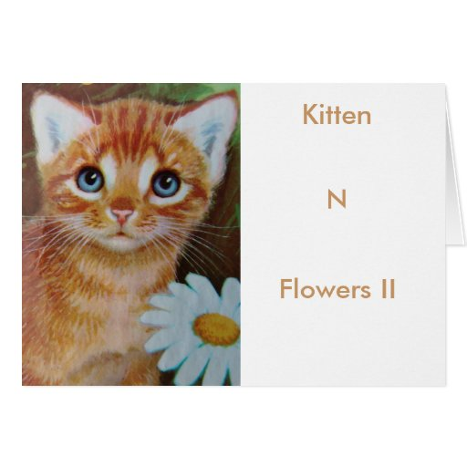 El gatito n florece II Tarjeta De Felicitación