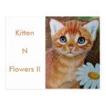 El gatito n florece II Tarjeta Postal