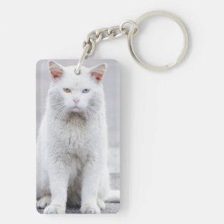 El gatito no se divierte llavero rectangular acrílico a doble cara