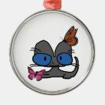 El gatito observado azul hace que Butterflys venga Adorno Para Reyes