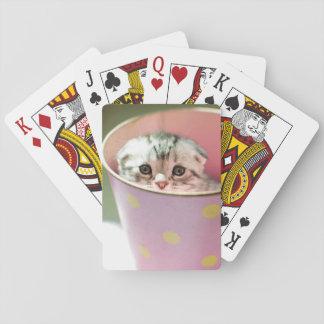 El gatito oculta en cubo del caramelo baraja de póquer