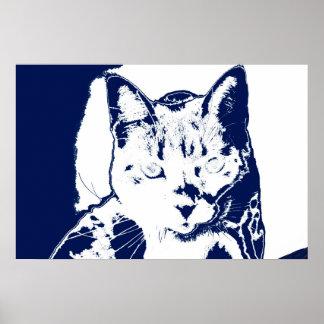 el gatito posterized imagen felina aseada blanca posters