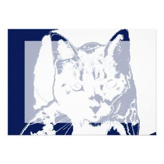 el gatito posterized imagen felina aseada blanca invitación personalizada