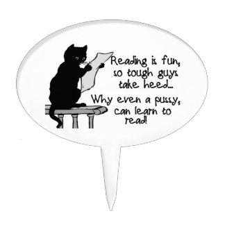 El gatito puede leer el gato divertido figuras para tartas