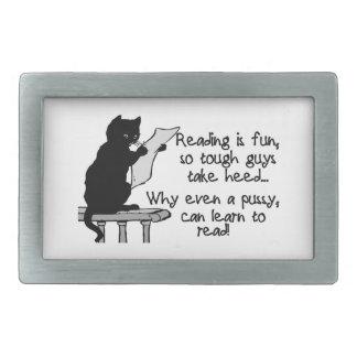 El gatito puede leer el gato divertido hebilla de cinturón