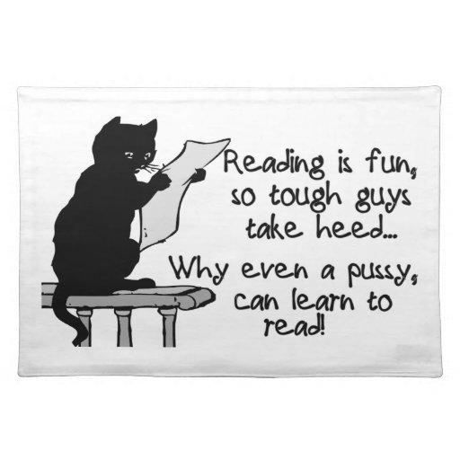 El gatito puede leer el gato divertido mantel individual