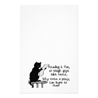 El gatito puede leer el gato divertido papelería personalizada