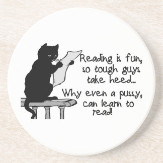 El gatito puede leer el gato divertido posavasos para bebidas