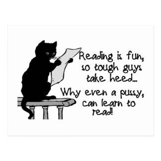 El gatito puede leer el gato divertido postal