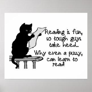 El gatito puede leer el gato divertido poster