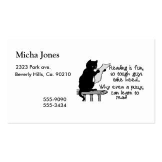 El gatito puede leer el gato divertido plantilla de tarjeta de negocio