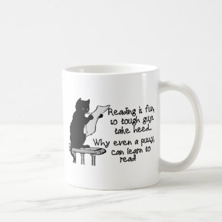 El gatito puede leer el gato divertido taza de café