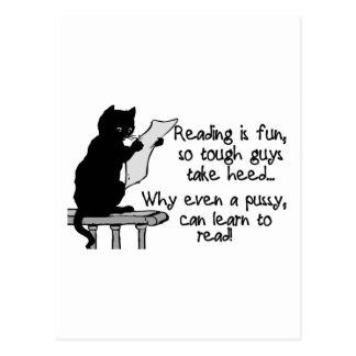 El gatito puede leer postales