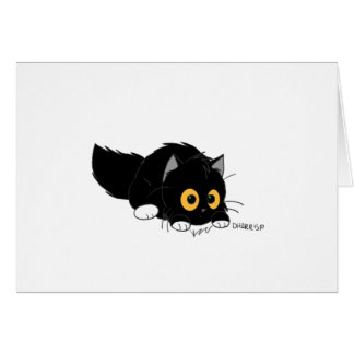 El gatito se agacha tarjeta del Poof