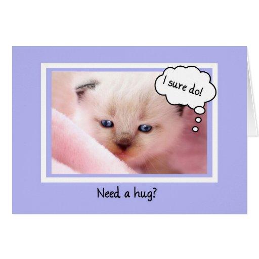El gatito siamés lindo, necesita un abrazo, estímu tarjeta