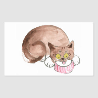 El gatito Sue Z tiene sed, Yum… Crema Pegatina Rectangular