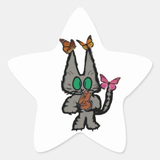 El gatito tiene Butterflys que lo visita Pegatinas Forma De Estrella Personalizadas