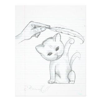 El gatito y la pluma plantilla de membrete