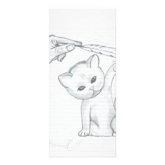El gatito y la pluma diseño de tarjeta publicitaria