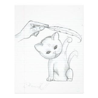El gatito y la pluma tarjetones