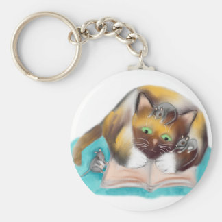 El gatito y los ratones son ratones de biblioteca llavero redondo tipo pin