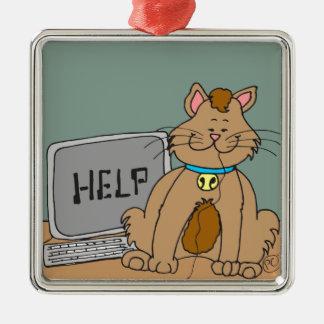 El gato 631 comió el dibujo animado del ratón del adorno navideño cuadrado de metal