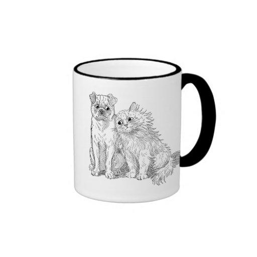 El gato abraza hasta perro taza a dos colores