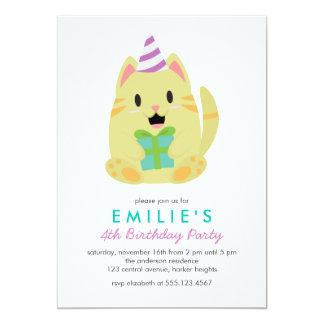 """El gato amarillo lindo embroma a la fiesta de invitación 5"""" x 7"""""""